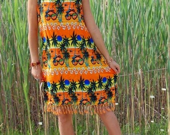 Vintage Neon Tropical Sunset Fringe Dress with Palm Trees and Sunglasses Hawaii  One Size