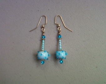 Light Blue Earrings with Aqua Spots (0126)