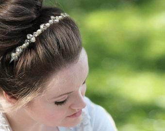 Pearl and crystal headband, genuine Swarovski rhinestone headpiece