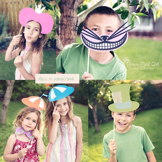 Alice In Wonderland Party Printable Photo Booth Props-DIY- Bright Colors