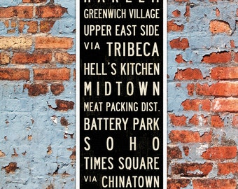 SMALL New York City Subway Sign, New York Poster, New York Art Print, Subway Art, Industrial Decor, Canvas or Wood Wall Art. 12 x 36