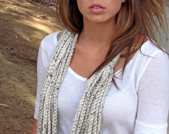 Crochet  Tweed Oatmeal Cream Infinity Chain Scarf