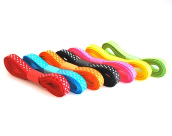 Rainbow Ribbon Set,  Swiss Dots  - 3/8 inch Grosgrain Ribbon Collection (21 yards)   A485