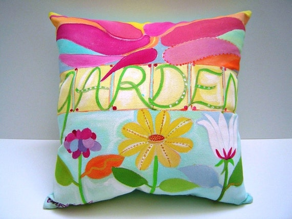 Garden Pillow - 14X15 - Hand painted - Lettered - Floral - Blue and Magenta - Art - Garden lover - Gift