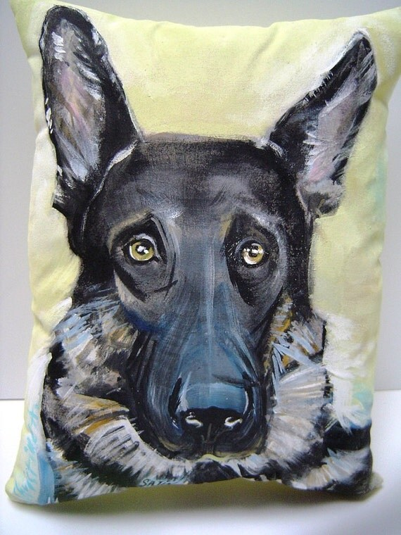 DOG Portraits - Hand Painted Pillow - Home Decor - Memorial Gift - Personalize Your Pet - Art Pillow
