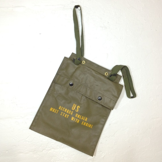 Military Bag Green And Yellow Army Envelope Records Holder