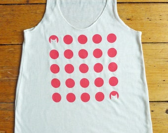 SALE - Pink Cats Polkadot Tank Top on Eco White