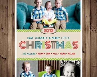 SAME DAY TURNAROUND Custom Christmas Card -- Holiday Greeting Card -- Merry Little Colorful
