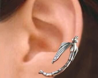 Dragonfly ear cuff Sterling Silver earrings Dragonfly jewelry Dragonfly earrings Sterling silver ear cuff clip for men & women C-070