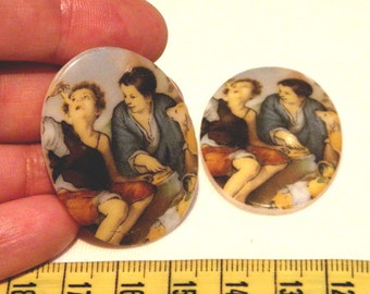 "Cabochon - 4 RARE Vintage ""Old Masters"" style Glass Cabochons (German made, pre 1960s)"