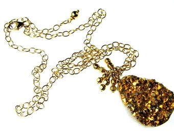 "LP 164 24K Golden Plated Freeform Druzy And 14K Gold Filled Chain Necklace    "" One Of A Kind """