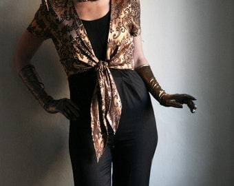 Disco party costume Gold and Black Brocade Romper size S-M 1970ies