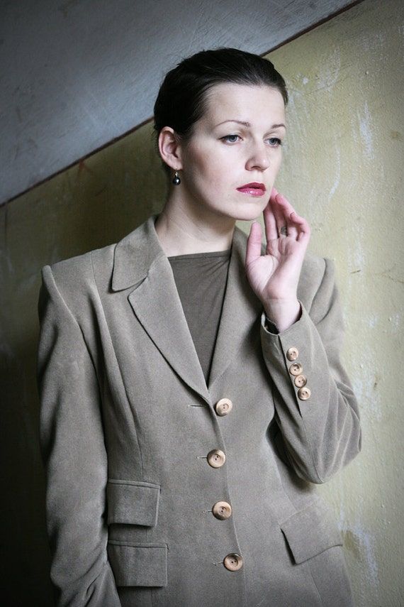 Taupe 80ies Ladies Two piece suit Pants and Jacket size S - bold Elegant Suit Long Jacket fitting trousers in Dark beige