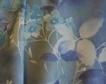 Dark Blue Floral Print, Flannel Fabric, Flowers, Medium Weight, Polyester Acrylic, half yard, B5