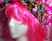 Sugar Skull - Day of the Dead - Headband - Hot Pink - Tie back - 4 inches Wide - Rosie the Riveter
