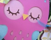 "Colorful Owl ""happy 1st birthday"" Banner in Bright Colors"