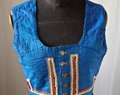 Czech Antique Moravian Blue and Red Folk Costume Cropped Bolero Vest Gypsy Bluebird Buttons