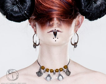 Miyu Decay Tuareg Palmier with Bat Skulls Necklace