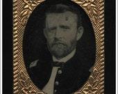 RARE Miniature Tintype Photo / Civil War General & President U.S. Grant