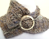 Reduced Cowl Blue and Grey Art Yarn with Silver and Shell Shawl Pin