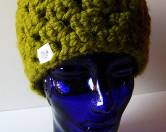 Cilantro Green Open-work Chunky Crocheted Wool Beanie - OOAK