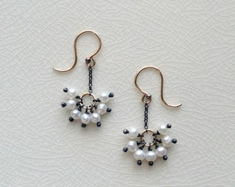 SUNSHINE - pearl gold earrings