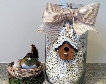 Birdseed Mason Jar Favor With Seeds-Choose Your Bird