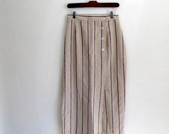 striped midi skirt - 90s vintage tan beige khaki red white blue linen maxi long high waisted pencil wiggle preppy minimalist small medium