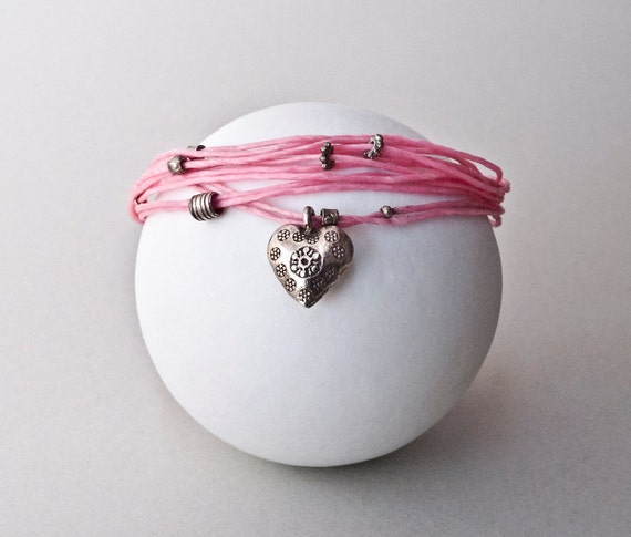 Hot Pink Friendship Charm Bracelet, Sterling Silver Heart Charm Bracelet, Dainty Bracelet, Delicate Jewelry, Love Pink Jewelry, Santorini