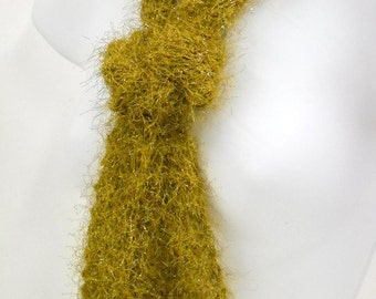 Sparkly Gold Knit Scarf - Lightweight All Season Scarf, Womens Accessories