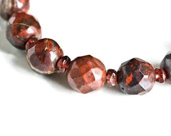 Oxblood Stacking Bracelet - Jasper and Garnet Bracelet - Oxblood Merlot Burgundy Fall Fashion, Natural Gemstone Stretch Bracelet