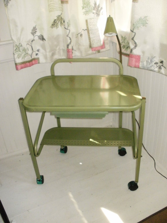 Vintage Kitchen cart,Cosco style with Goose neck Light, Special Holiday Price