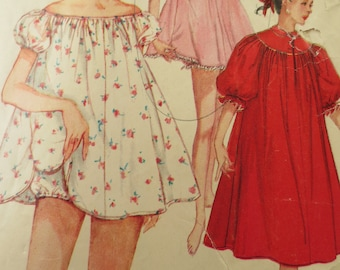Vintage Simplicity 1102 Sewing Pattern, 1950s Nightgown Pattern, 1950s Nightie Pattern, Shorty PJs Pattern, Bust  32 Inches