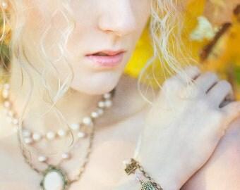 """Clearance Item 40% Off Antique Brass Pink Crystal Victorian Bracelet Radiance of Angele' 10"""" Adjustable"""