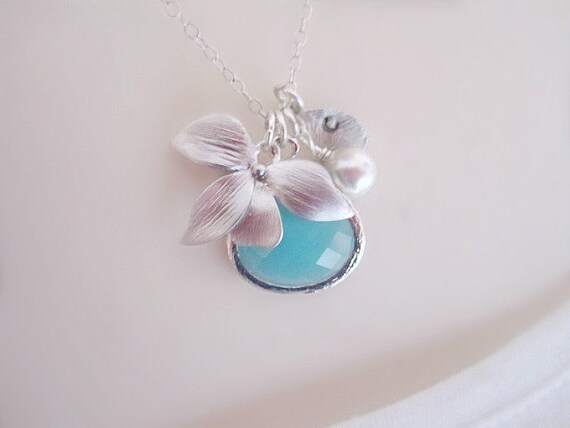 Aquamarine Necklace, Initial Necklace, Personalized Womens, Mothers Necklace, Best Friend Necklace, Dainty Necklace, Orchid Necklace, Silver