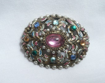 Vintage Art Deco Multi Color Glass and Enameled Brass Brooch/Pin