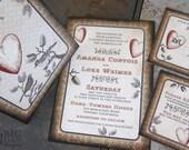 Vintage Love Birds Wedding Invitation Set / Branches / Birds