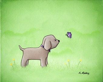 Puppy and Purple Butterfly 8x10 Children's Room Matted Canvas Painting Print - wall art