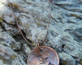 TRUST God Penny Necklace With Little Bird Stamp