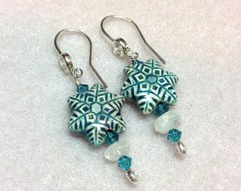 Raku Snowflake Earrings - Moonstones and Swarovski crystals - Sterling Silver & Cubic Zirconia earwires  - blue white aqua - winter snow