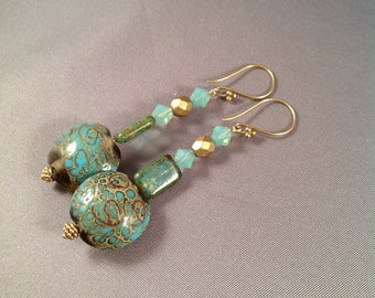 Shimmering Turquoise Lampwork Bead & Swarovski Crystal earrings 24Kt gold vermeil earwires - seafoam - blue - gilt - gold - teal