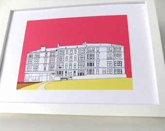 Glasgow Print - hot pink art print - home decor - art - Scottish art - Picture of Glasgow