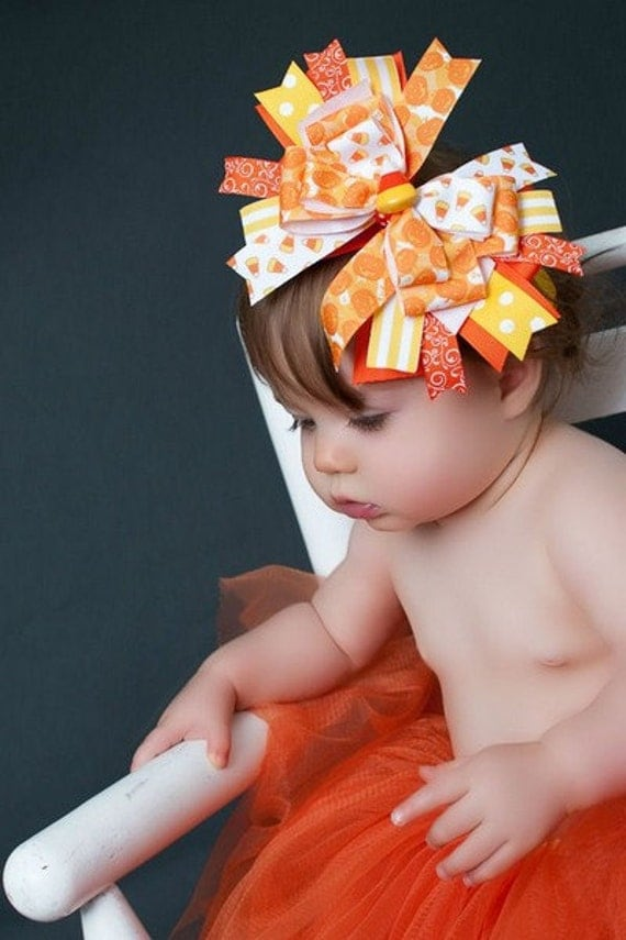 Candy Corn Orange, Yellow, and White Halloween Over the Top Boutique Hair Bow Headband