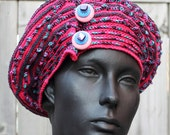 Pinks & Blues Crochet Hat with Three Button Pins...
