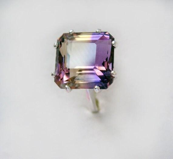 Large Top Grade Bi-Color Ametrine In Sterling Silver Ring 8.10ct Size 7