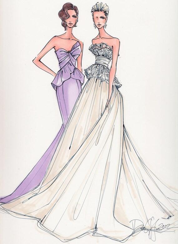 Items similar to custom wedding gown illustration 2 bodies Wedding dress illustration