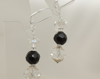 Black and Crystal Silver Dangle Earrings