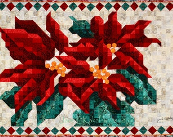Poinsettia Mosaic Quilt Pattern - Christmas Quilt Pattern - Immediate Download PDF