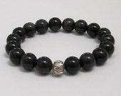 Rainbow Black Obsidian Mala Bracelet Buddhist Lotus Sterling Worry Beads Bracelet Chakra Jewelry Stretch Yoga Women Men Bracelet Protection