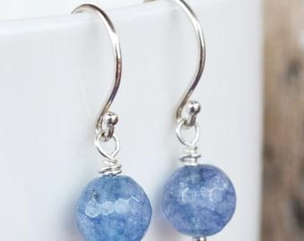 Simple Deep Blue Aquamarine Earrings hanging, Argentium Sterling Silver French Hoops, March Birthstone, Periwinkle Blue Earrings
